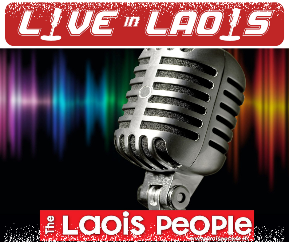 Microphone with both 'Live in Laois' and The Laois People logos