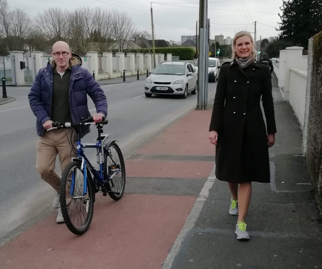 Local Portarlington Green Party rep John Holland, pictured here with Minister Pippa Hackett, welcomed this Bike