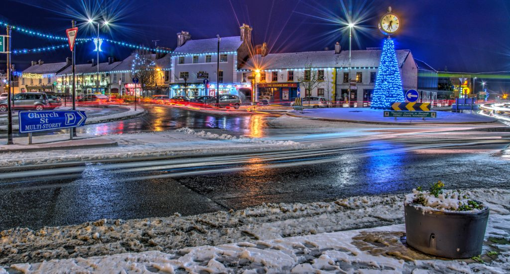 photo of an icy Market Square in Portlaoise at night by Rafal Krzyzelewski