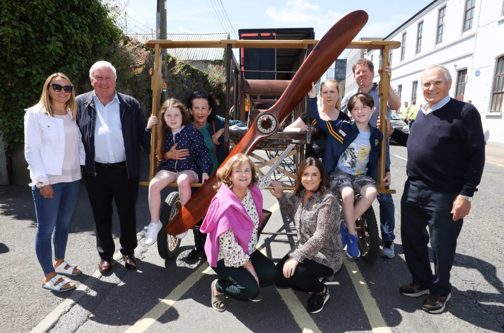 The Portlaoise Flyer, the plane built by Frank and Louis Aldritt in the early part of the 20th century has returned home to Portlaoise. Pictured with the plane are family members Georgina, Jack and Emma Brennan with Susan, Barbara and Eavan Aldritt with Louise Fennelly, secretary of the Fitzmaurice Commemoration Committee; Michael Parsons, chairman The Heritage Council; Alan Phelan, Fitzmaurice Commemoration Committee and Teddy Fennelly, Laois Heritage president. Picture: Alf Harvey.